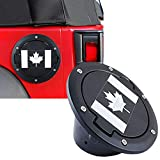 Gas Tank Cap Cover Compatible Jeep Wrangler JK & Unlimited 2007-2017 Replacement with the Canadian Flag Cover Fuel Filler Door