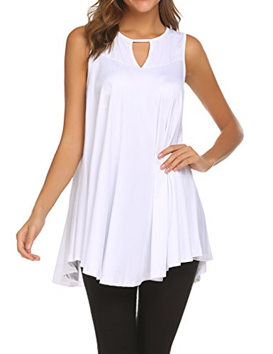 Tobrief Women's Long Sleeveless Tunic Loose Flowy Tank Top (Long Tunic Tank Top Shirt)