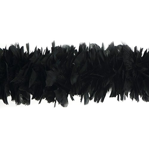 """Zucker Feather Products Large Natural Turkey Feather boa, 6-8"""" Black Flapper Halloween Cosplay Costume Accessory"""