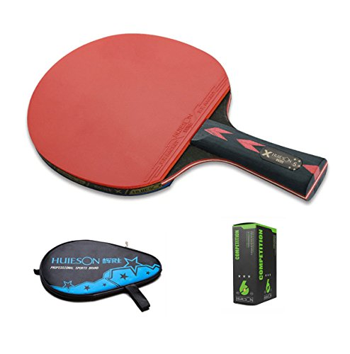 LANFIRE(huieson) 5 Star Handle Table Tennis Racket Pimples-in Rubber Table Tennis Paddle (Long)