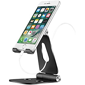 MoKo Phone/Tablet Stand, Universal 210 Degree Foldable Adjustable Aluminum Desktop Holder for iPad pro 10.5/9.7, iPad Mini/Air, iPhone 8/8 Plus/7/7 Plus, iPhone X, Galaxy Note 8, Tab E, Zenpad, Black