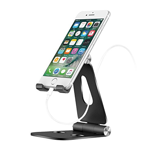 MoKo Foldable Phone/Tablet Stand, 210 Degree Adjustable Aluminum Desktop Holder Fit with New iPad Air 3rd Gen iPad Mini 5th Gen Galaxy S10e/S10/S10+ iPad Pro 10.5/9.7 iPhone Xs/XS Max/XR/X, Black