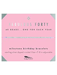 """Lucky Feather 40th Birthday Gifts for Women, 14K Gold Dipped Beads Bracelet on Adjustable 7""""- 8"""" Cord - Perfect 40th Birthday Gift Ideas for Her"""