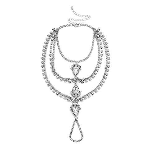 Ingemark Statement Crystal Wedding Bridal Charm Bracelet for Women Adjustable Rhinestone Gold Silver Bangle (Silver)