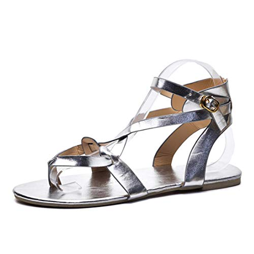 Women Buttoned Sandals,Summer Ladies Sandals Cross Strap Flat Ankle Roman Casual Shoes Beach Sandals (US:9, Silver) by BeautyVan-- (Image #2)
