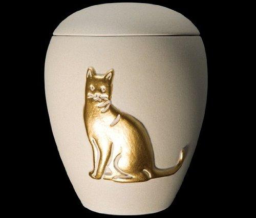 Kronos - Urne cinéraire couleur crème en céramique à motif de chat - Dim : Cm 8, 5 x h Cm 11, 5; Vol. lt 0, 5
