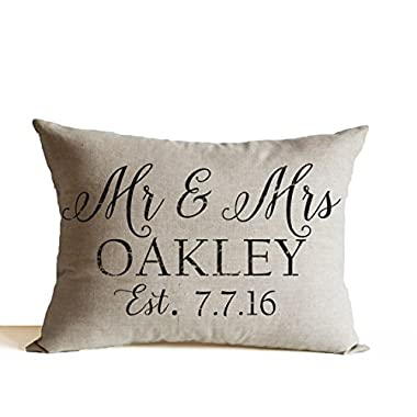 Amore Beaute Handcrafted Decorative Pillow Cover Mr Mrs Throw Pillow Custom Name Date Pillow Cover Personalized Pillow Covers Wedding Decor Pillow Anniversary Gift (12x20 Inches)