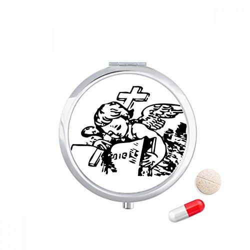 Religion Christianity Cross Angle Travel Pocket Pill case Medicine Drug Storage Box Dispenser Mirror Gift by DIYthinker