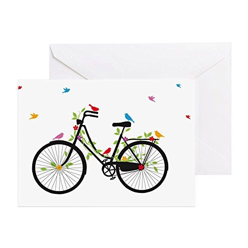CafePress Old Vintage Bicycle With Flowers And Greeting Card, Note Card, Birthday Card, Blank Inside Matte ()