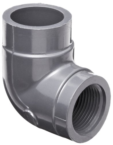 """GF Piping Systems PVC Pipe Fitting, 90 Degree Elbow, Schedule 80, Gray, 1"""" NPT Female x Slip Socket"""