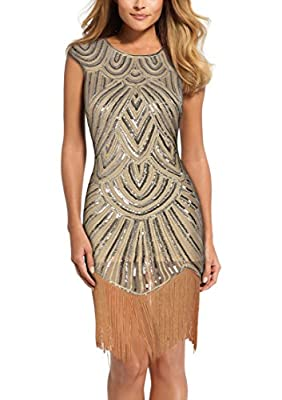 REPHYLLIS Women's 1920s Classical Gastby Sequin Embellished Fringed Flapper Dress