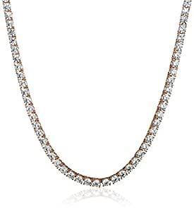 Platinum or Gold-Plated Sterling Silver Swarovski Zirconia Tennis Necklace (5mm), 17""