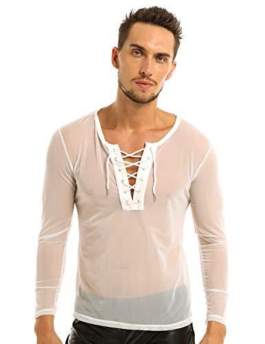 Agoky Mens Mesh Sheer See Through Fishnet T-Shirt Muscle Tees Tops Clubwear