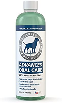 Vets Preferred Dog Breath Freshener Water Additive - Fights Bad Breath, Removes Plaque and Tartar, Prevents Gum Disease - Mint Flavored