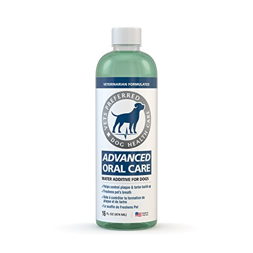 Advanced Oral Care for Dogs (& Cats) - Veterinarian Grade, Premium Solution for Bad Breath Dogs - Controls Plaque, Tartar, Gum Disease With Less Brushing! Simple Water Additive for Dog Oral Care ()