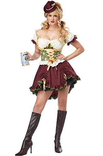 [California Costumes Women's Eye Candy - Beer Garden Girl Adult, Burgundy/Green, X-Small] (Candy Woman Costumes)