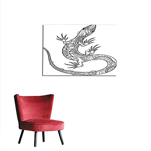 Lizards Mural - homehot Photographic Wallpaper A Pen Drawing of a Tribal Lizard Mural 36
