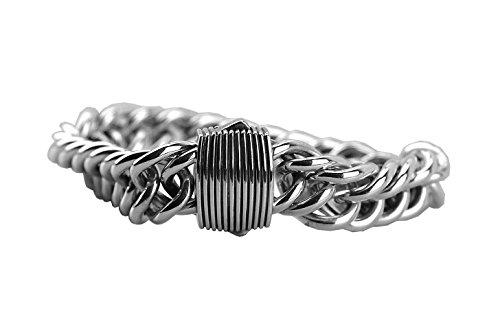 (David YURMAN Solid Sterling Silver 16mm Double Curb Link Royal Cord Bracelet 22B )