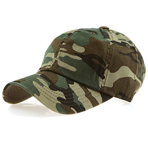 RufnTop 100% Cotton and Denim Washed Classic Dad Hat Plain Dyed Low Profile Baseball Cap(Army Camouflage OS)