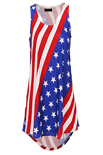 Racer Tank Womens Summer (DREAGAL Women's Racer Back Patriotic American Flag Print Summer Tank Top Flag2Small)