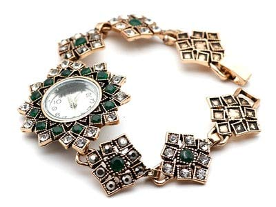 TreeMart Vintage Turkish Women Square Bangle Watch Antique Gold Color Resin Bracelet Cuff Wrist Watch National Style Jewelry Period-Style