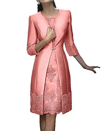 Ballkleider Kurz Elegant Brautmutterkleider Knielang Festlichkleider Langarm Abendkleider Damen Rosa Pfirsisch Charmant wREqB08O