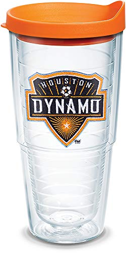 Tervis 1107170 MLS - Houston Dynamo Tumbler with Emblem and Orange Lid 24oz, Clear by Tervis