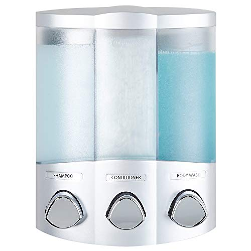 (Better Living Products 76334 Euro Series TRIO 3-Chamber Soap and Shower Dispenser, Satin Silver)