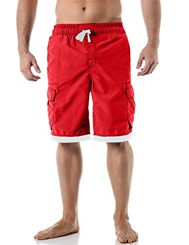 Alki'i Men's Boardshorts - Solid Colors Team USA, Red L ()