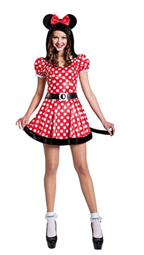 Seasons Inc Womens Red Sassy Mouse Costume Size Large 12-14