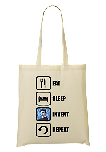 Eat Sleep Invent Repeat Nikola Tesla Graphic Sac Fourre-tout Sac à provisions