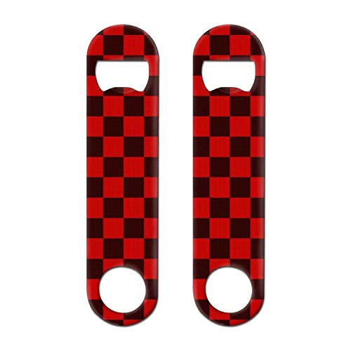 BEUJDWAQ 2 PACK Stainless Steel Heavy Duty Red checkerboard paper Soda Wine Beer Flat Bottle Opener Keychain For Bar Restaurant Home