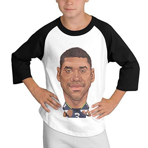 Teens Baseball Jersey Russell-Wilson-Cartoon 3/4 Sleeve Raglan Baseball T-Shirt Black