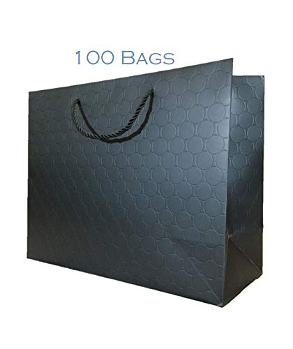 Large Black Gift Bags with Handles Bulk Lot 100 Pack 13 x 5 x 10 Modern Circle Embossed Matte Heavy Duty 250 g Reusable Grocery Bags Premium Quality Art Paper Euro Tote Modeeni(Black, Bulk 13