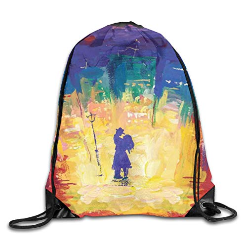 Unisex Drawstring Bag Gym Bags Storage Backpack,Gentleman With Hat And Lady With Dress Dancing Couple Vibrant Oil Painting Style