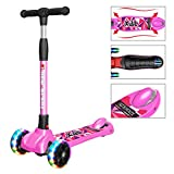New Olym Kids 3 Wheel Scooter for Toddler Boys Girls,Big Flashing Wheels 4 Adjustable Height Mini Deluxe with Safety Brake for Children Ages 3-14Years Pink