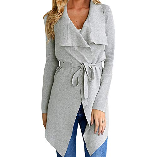 - Rambling Women's Open Front Long Sleeve Raw Cut Hem Waterfall Collar Irregular Trench Coat Cardigan with Belt