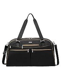 Baggallini Weekender Travel Tote Bag, Black/Sand, One Size