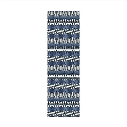 - Decorative Window Film,No Glue Frosted Privacy Film,Stained Glass Door Film,Patchwork of Denim Fabric in Nautical Style Stitch Stripes Jeans Zigzag Chevron Decorative,for Home & Office,23.6In. by 59In