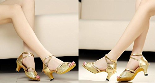 Gaorui Frauen Tango Ballsaal Latin Salsa Walzer Tanzmädchen Party Formelle Schuhe Brillante Glitter Heeled Schwarz