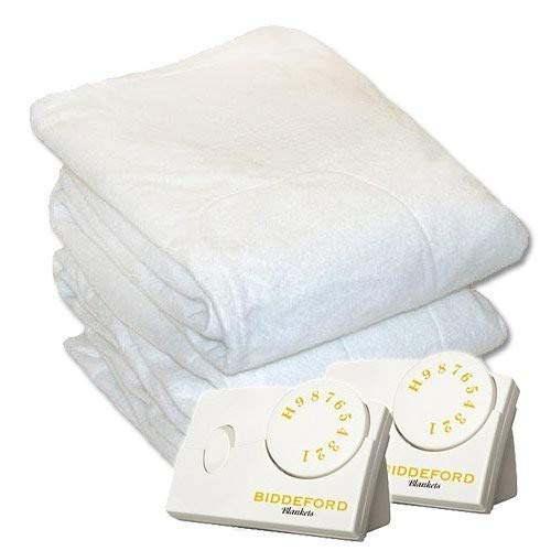 Biddeford 5902-908221-100 Electric Heated Mattress Pad, White, Queen