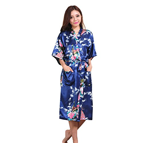Yidarton Womens Long Fashion Kimono Robe with Peacock and Blossoms Navy X-Large
