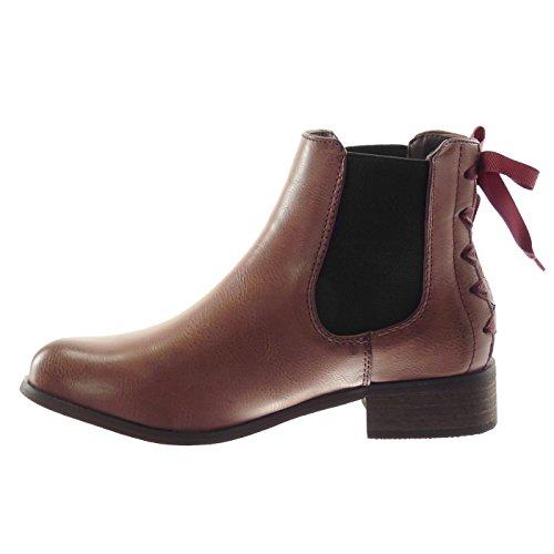 Boots Fourrée Chelsea Lacets Mode Noeud Bottine Talon Bloc Intérieur Chaussure Angkorly 2 Femme Bordeaux Cm 3 fAIyOn