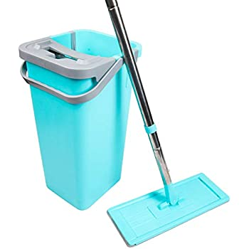 Squeezy Floor Mops >> Amazon.com: Moppson Flat Squeeze Mop and Bucket - Self ...