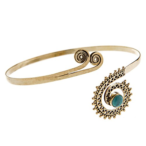 81stgeneration Womens Brass Simulated Turquoise Tribal Upper Arm Cuff Armlet Armband Bangle Bracelet