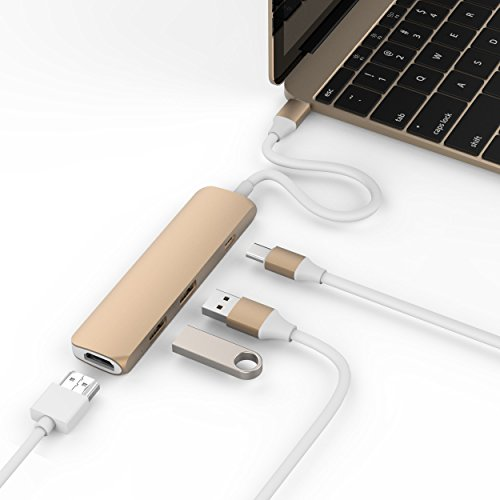 HyperDrive USB Type-C Hub with 4K HDMI Support - GOLD (Gold Hub)