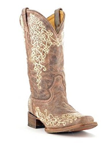 Corral Women's A2663 Crater Embroidery Brown Fashion Boots 7.5 M (Brown Distressed Fashion Cowboy Boots)