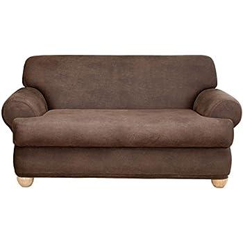 Amazon Com Surefit Stretch Leather 2 Piece Sofa