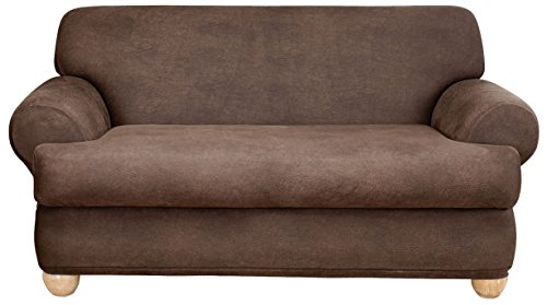 Sure Fit Stretch Leather 2-Piece - Sofa Slipcover - Brown (SF37330)
