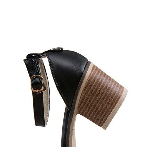 Women's Black Sandals Kitten Heels Assorted Toe Pu WeenFashion Color Buckle Open 7PxdwqnppO